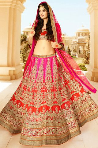 Red and Pink Net Heavy Embroidered Bridal Lehenga