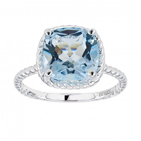Birks Collection, Blue Topaz Ring, in Sterling Silver