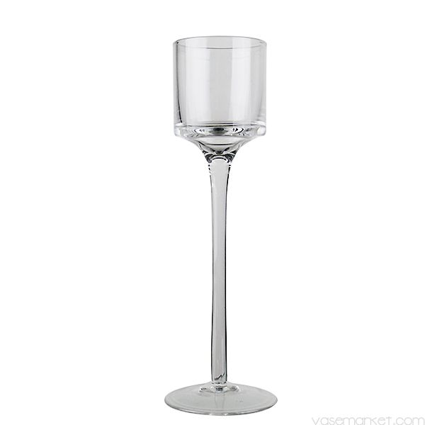 8 in long stem candle holders clear glass