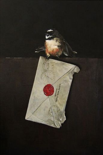 'Letter from Lloyds' - New Zealand Fantail by Jane Crisp. imagevault.co.nz
