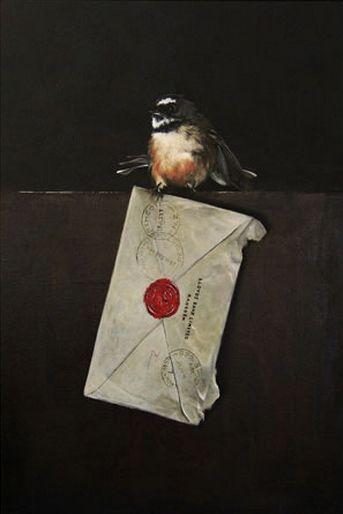 'Letter from Lloyds' - New Zealand Fantail by Jane Crisp. imagevault.co.nz