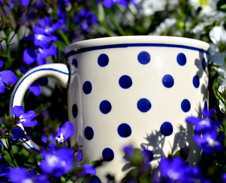 Classic ceramic mug with handle. Artistic hand made and hand decorated.