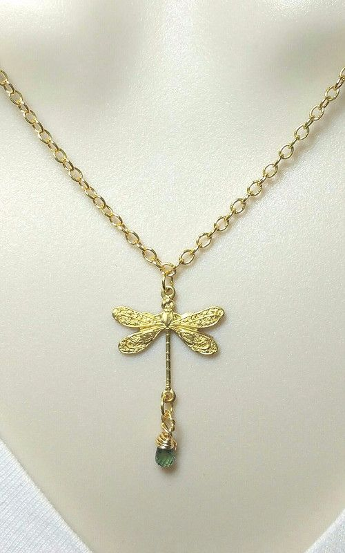 Dragonfly freedom blue sapphire necklace. Golden Dragonfly Necklace. Free Spirit.