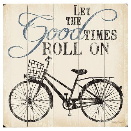 Paneled wood wall art with a bicycle motif and typographic details.   Product: Wall artConstruction Material: Wo...