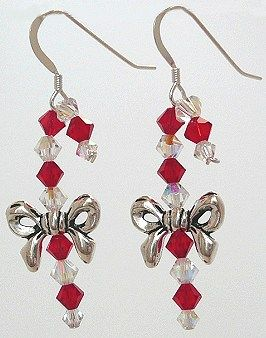 Swarovski crystal candy cane earrings. So cute! Look for project 2-36 on our Holiday Idea Page.