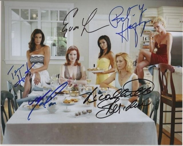 Desperate Housewives Cast Autograph 8x10 Photo - Teri Hatcher, Eva Longoria, Nicollette Sheridan, Marcia Cross and Felicity Huffman - Certificate of Authenticity Included - Please Read Our Service Pledge and Autograph Guarantee - $199 - #gift #celebrity #shopping
