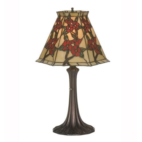 Meyda Tiffany 81620 Asian Single Light Up Lighting Table Lamp from the Oriental Peony Collection, Gold