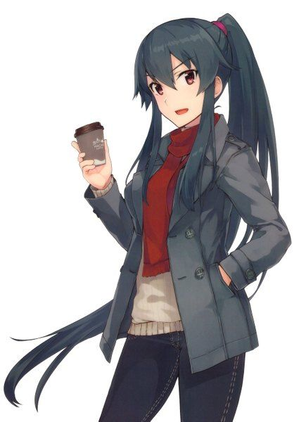 Image d'anime 2000x2821 avec  kantai collection yahagi (kantai collection) konishi (koconatu) single tall image blush looking at viewer highres open mouth black hair simple background fringe white ponytail very long hair official art hair between eyes payot :d hand in pocket