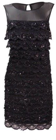 Jessica Simpson Women's Sequin Embellished Tiered Dress (6, Black)