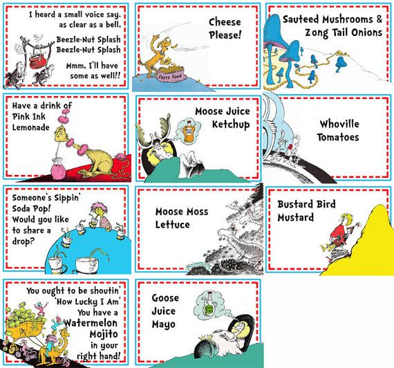Dr Seuss Party Food Labels 16 Labels By Imfeelincrafty On