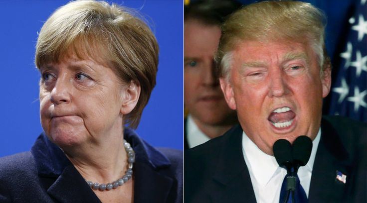 German Chancellor Angela Merkel and Republican U.S. presidential candidate Donald Trump.  'End of Europe': Trump slams Merkel's refugee policy, wants good relations with Russia