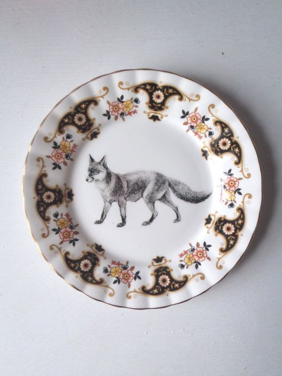 Altered Art Plate Vintage Victorian Fox Illustration