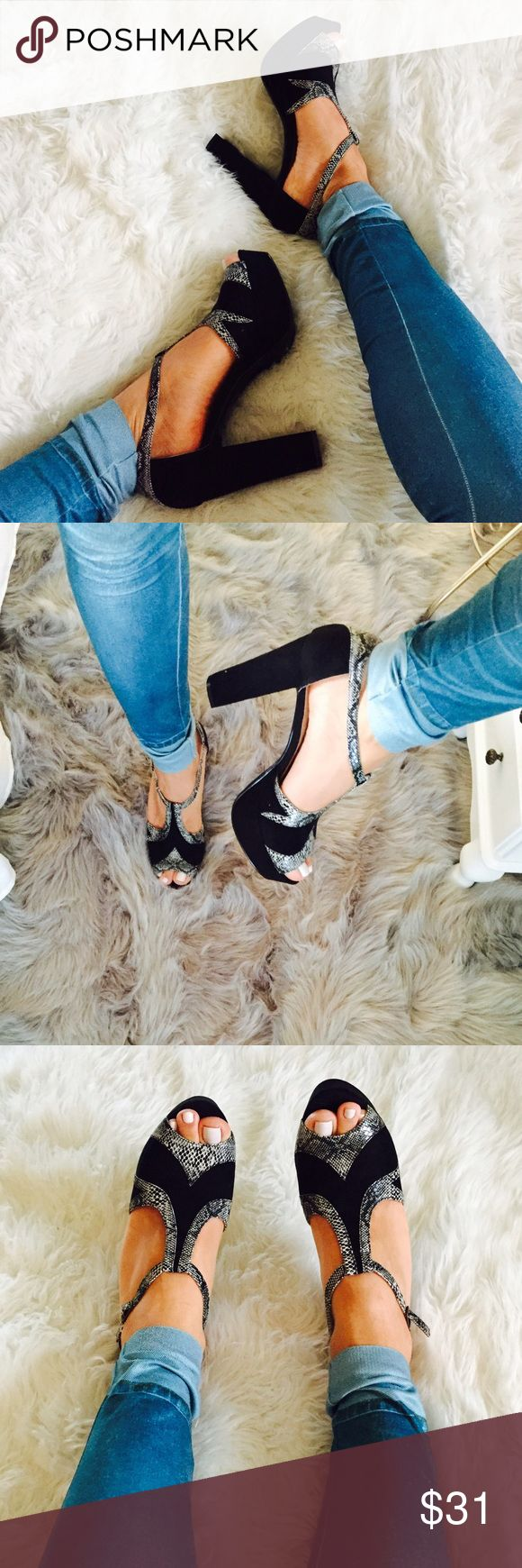 Snake skin peep toe platform heels Brand new in the box  black and snake skin peep toe platform heels. True to size steady and easy to walk . From a smoke free home chelsea crew Shoes Platforms