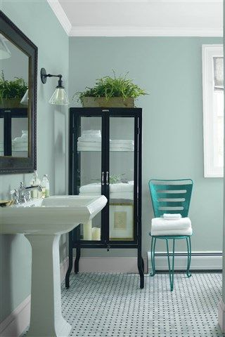 Look at the paint color combination I created with Benjamin Moore. Via @benjamin_moore. Wall: Rhine River 689; Trim: Marilyn's Dress 2125-60; Chair: Teal Ocean 2049-30.