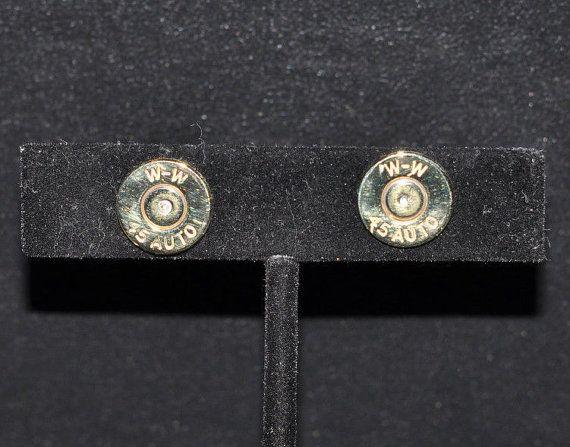 Winchester 45 Auto Brass Bullet Casing Earrings by OnTargetJewelry