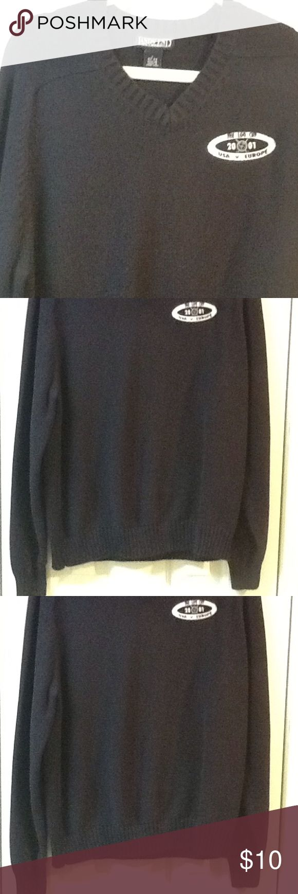 Men's Size L Golf Sweater by Lands End Navy Lands End size large v-neck cotton with golf logo. USA vs Europe. In great condition. Navy blue. Lands' End Sweaters V-Neck