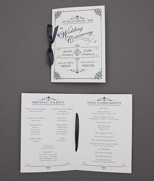 Ornate Vintage Type Wedding Program Booklet | Download