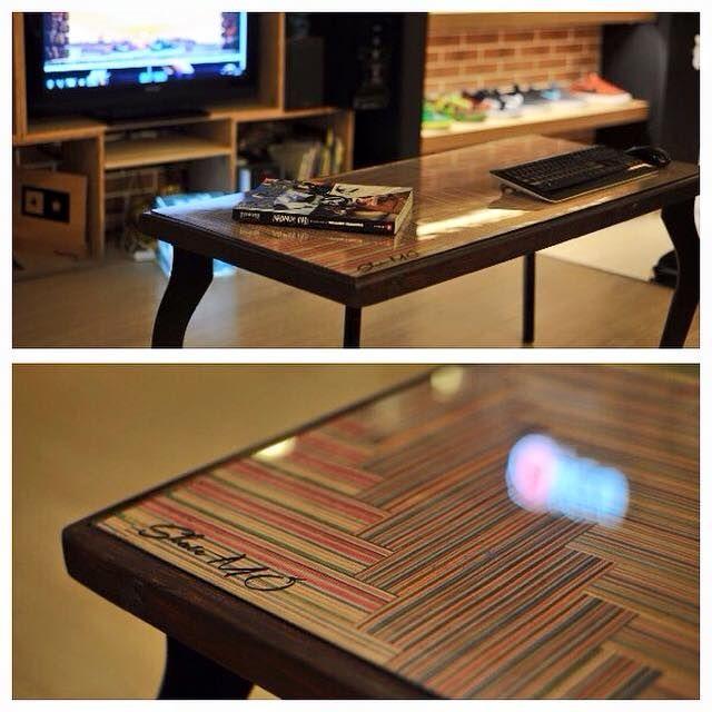 Skate table ,100% handmade by recycled skateboard decks!