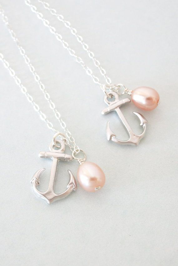 Silver Anchor necklace - simple silver necklace, Freshwater Pearl, Anchor, mentor, bridesmaids, best friends, sisters, mum, navy, www.glitzandlove.com