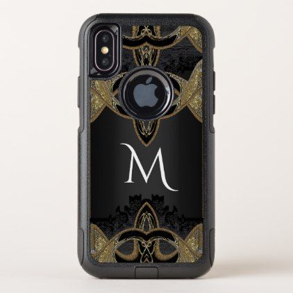 Monogram Marisa in Ebony Beautiful OtterBox Commuter iPhone X Case - girly gifts girls gift ideas unique special