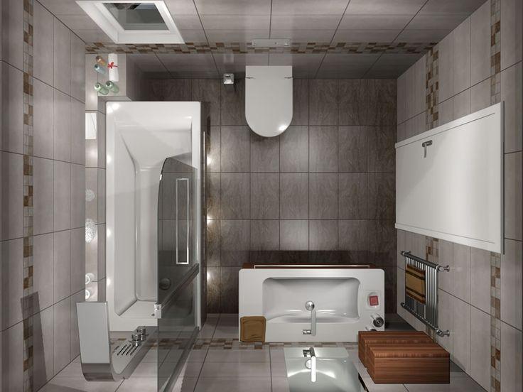 Κάτοψη του μπάνιου. Ο χώρος έχει διάσταση 2,00 x 2.30 m και το συνολικό του ύψος φτάνει τα 2.00 m.