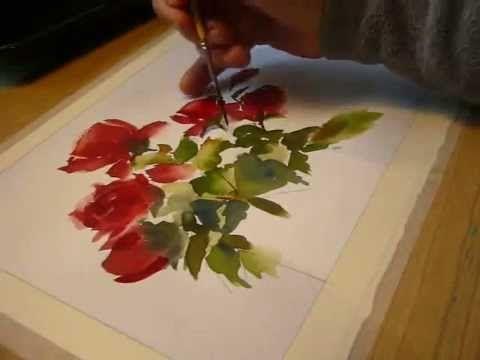 Pintando rosas a la acuarela en mi estudio. Painting red roses with watercolors - YouTube