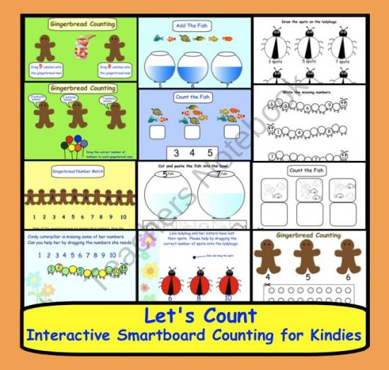 Counting to 10:  Interactive Smartboard Lessons for Kindies product from Teaching The Smart Way on TeachersNotebook.com