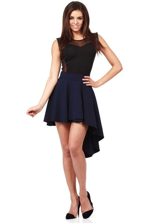 Asymmetrical mini skirt in dark blue with unusual fashion