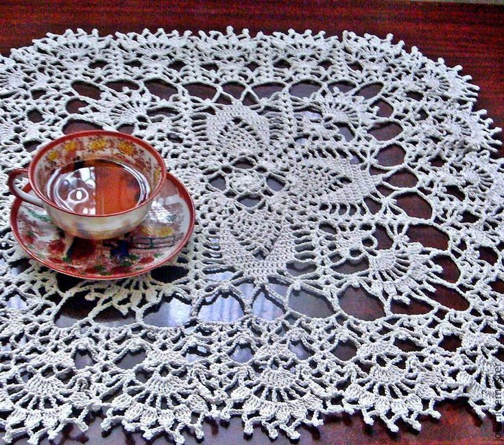 Купить Салфетка вязаная крючком - кремовый, белый, дорожка на стол, дорожка, винтаж, текстиль для дома