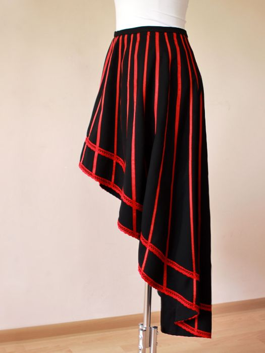 Asymmetric skirt with red stripes and cotton lace, half circle handmade skirt.