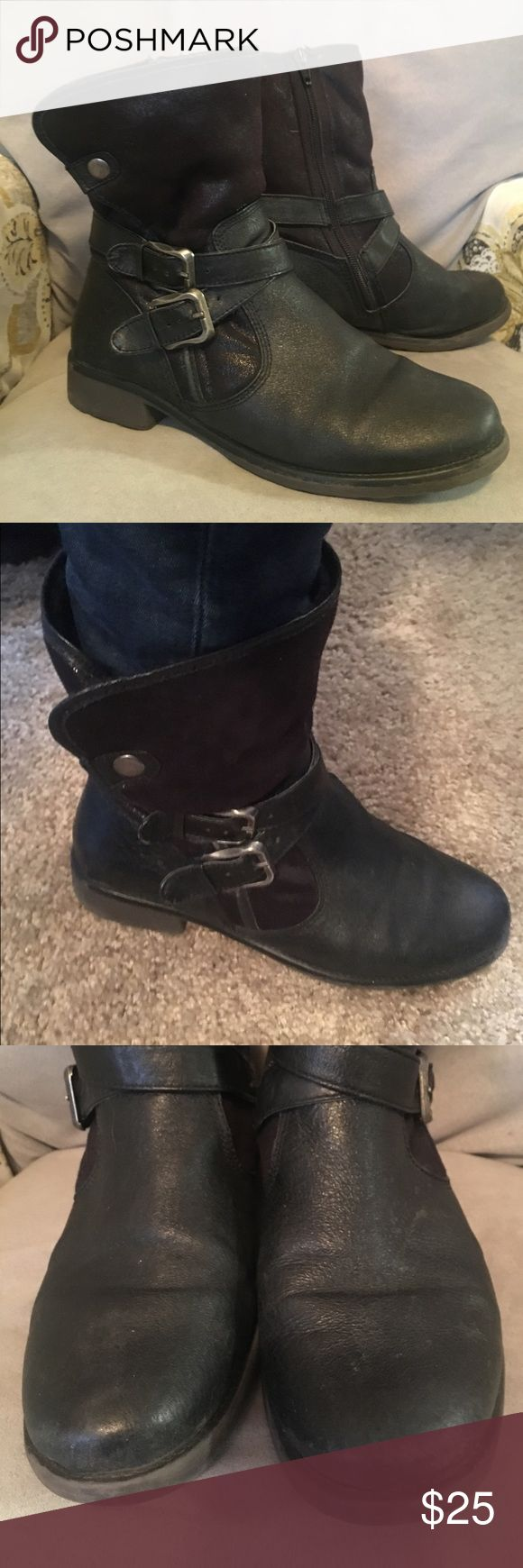 Bear Traps black leather boots Soft black leather ankle boots with a faux fur inside, rubber soles. Wear shown in pictures. Sad reposh, too small. I'm an 81/2-9. These are an 81/2 and run a little small. Bear traps Shoes Ankle Boots & Booties