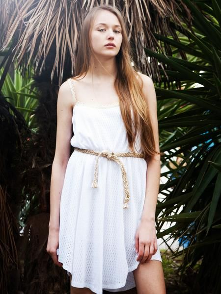 White cotton blend diamond knit dress with raw rope belt and ecru loop straps.