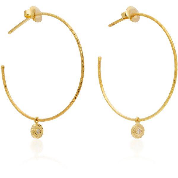 Octavia Elizabeth 18K Gold Diamond Hoop Earrings ($1,500) ❤ liked on Polyvore featuring jewelry, earrings, accessories, gold, diamond earrings, yellow gold hoop earrings, hoop earrings, earring charms and 18 karat gold earrings