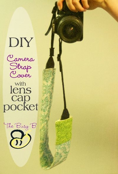 DIY Camera Strap Cover (padded and lined) with lens cap pocket. Super easy tutorial for a cute and comfortable camera strap!