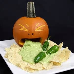 pumpkin throwing up guacamole - Bing Images - only going to use a cheeseball and crackers.