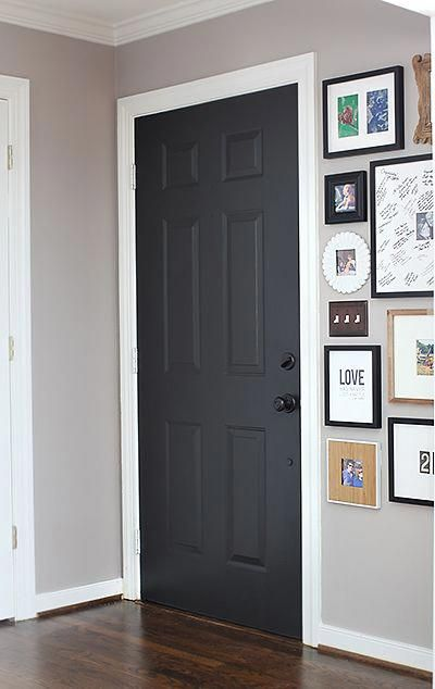 Superbe Door Color: Black Suede By Behr /   Satin Finish With Primer Built In. They  Didnu0027t Sand Before Painting Because It Was Latex On U2026