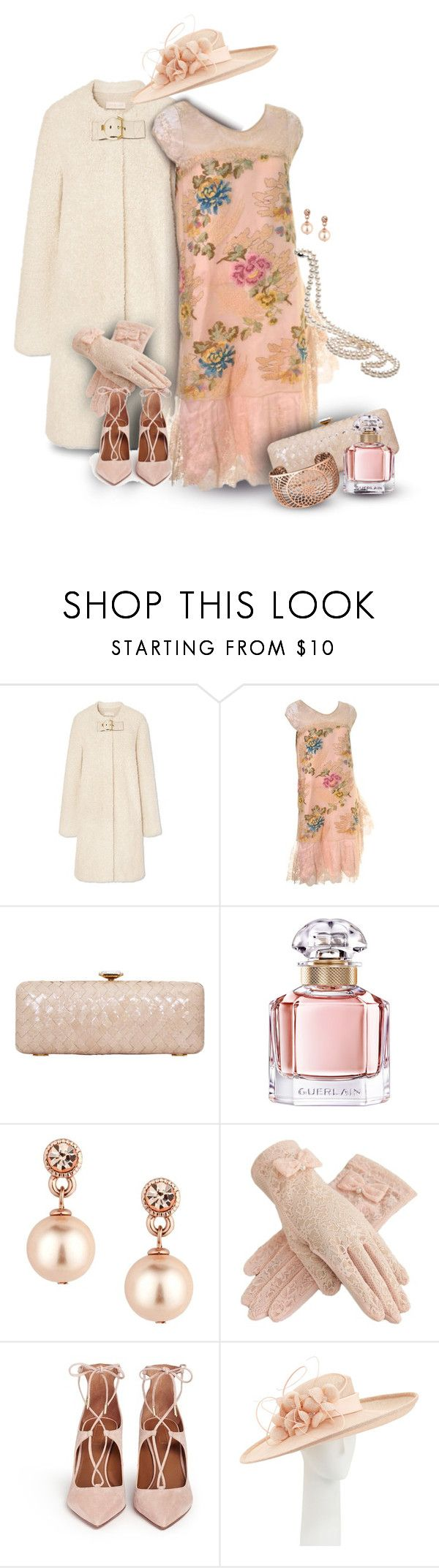 """""""Lace Dress & Hat for a Spring Wedding"""" by franceseattle ❤ liked on Polyvore featuring Tory Burch, Trilogy, Guerlain, Jon Richard, Aquazzura and Rachel Trevor-Morgan"""