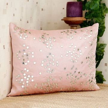 Ultra-Snob Mirror Work Cushion Cover Light Pink