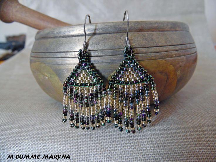 Mini modèle boucles d'oreilles perles Miyuki tissée main Ethnique Bohochic indien huichol Vert et jaune : Boucles d'oreille par m-comme-maryna