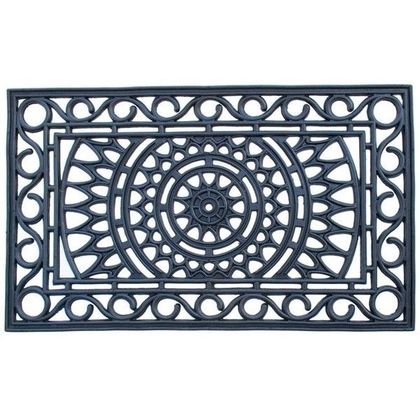 Sunrise Outdoor Door Mat ($50) ❤ liked on Polyvore featuring home, outdoors, outdoor decor, black, rubber doormat, outdoor rubber door mat, outdoor rubber mats, black mat and outdoor garden decor