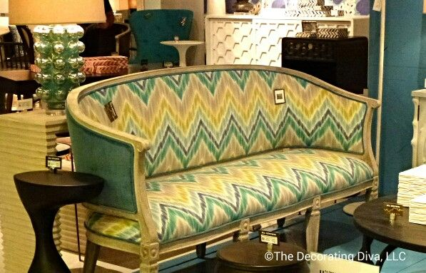 Mr. Brown settee in navy, gray, yellow and green chevron pattern. Nice updated look for classic furniture. #hpmkt: Chevron Patterns, Green Chevron, Brown Settees, Design Marketing, Classic Furniture, Fall 2013, Points, Gray Yellow, Decor Highlights