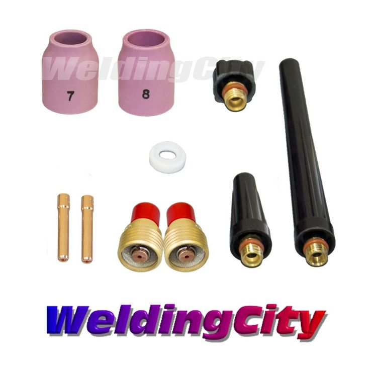 """WeldingCity TIG Welding Gas Lens Accessory Kit (1/16"""") Cup-Collet-Gas Lens-Gasket-Back Cap for Torch 9/20/25 T39"""