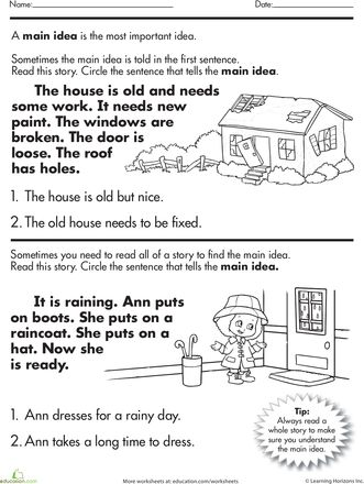 Worksheets 2nd Grade Main Idea Worksheets 1000 images about teaching main idea on pinterest anchor charts of a story worksheet