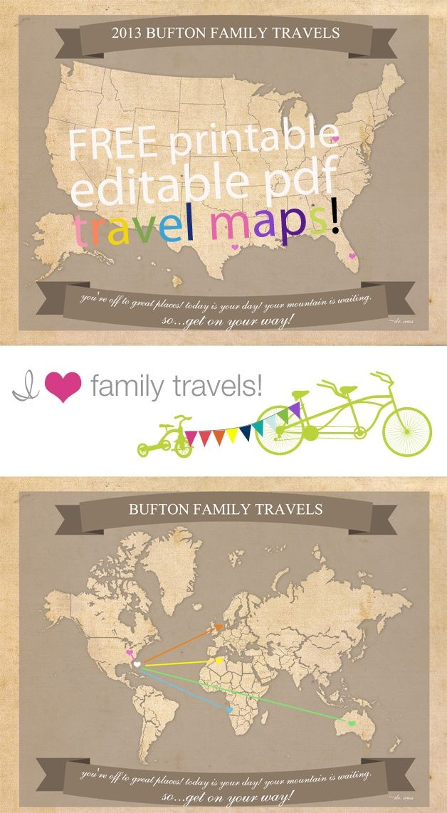 Free Printable Travel Maps perfect for summer travels #diy #crafts                                                                                                                                                                                 More
