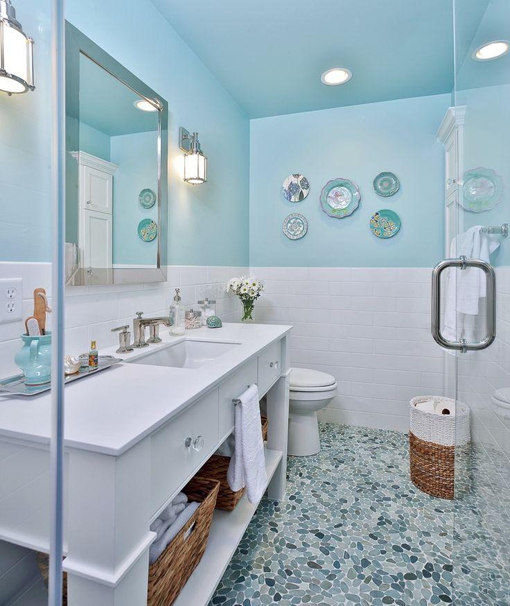 Bathroom; mosaic tile; toilet; sink; mirror; shower | Interior Designer: Carla Aston