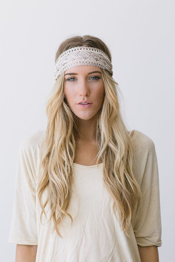 great gatsby embroidered lace white and cream stretchy headband wedding hair band wide stretchy lace hairband