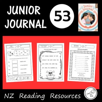 Activity sheets for Junior Journal 53 for your classroom reading programme. This resource will save you hours of time! A worksheet for every item in the journal (2 articles, 1 play, 1 story and 1 poem) * English / Maori word match. * True or false? * Word Search. * Word Study - spelling, alphabetical order. * Pepeha template. * Code breaking. * Draw a treasure map. * Pirate stick puppet templates. * Problem and solution. * Draw a robot. * Rhyming words. * Picture match.