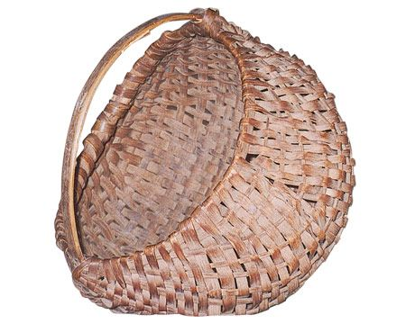 Western Kentucky Basket 19th through the early part of the 20th century. Splint market baskets were used to carry purchases home from the market or for storing food. This fairly common style of basket is known as a buttocks basket based upon its shape.