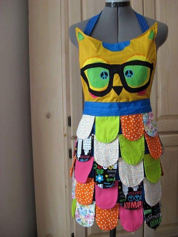 Coruja aventa # coruja # nerd # avental # cozinha # óculos # penas