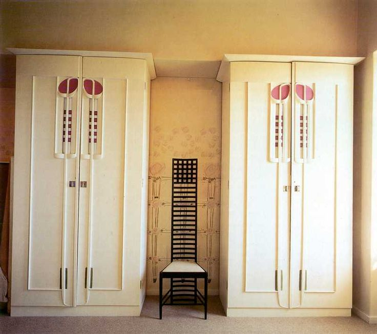 Armoires by Charles Mackintosh for Hill House. Wall stencil design by Margaret MacDonald. One of the signature chairs.